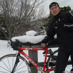 Cycling in snow... =)