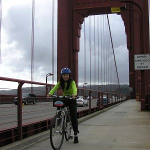 Amy on the Golden Gate