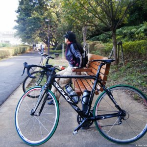 Taking a break on Nogawa Cycling Road - Setagaya
