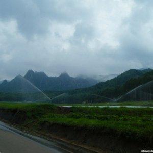 Riding through the lettuce fields of Kawakami-mura, Nagano Pref.