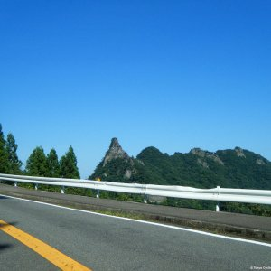 Riding past the Myogi rock formations (Gunma Pref.)
