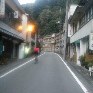 Ludwig riding up Shima-onsen (Gunma)