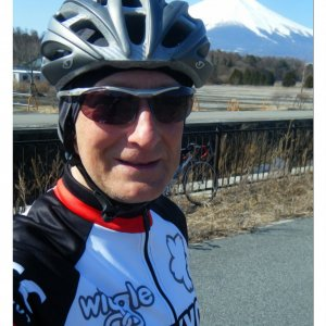 The new TCC maillot silhouhetted against Fujisan
