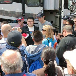 Hincapie posing with fans - ToC Stage 8